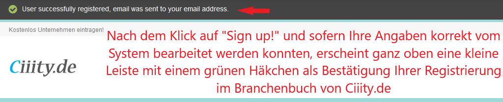 Registrierungsbestätigung für die kostenlose Registrierung im Branchenbuch und Firmenverzeichnis Ciiity.de!